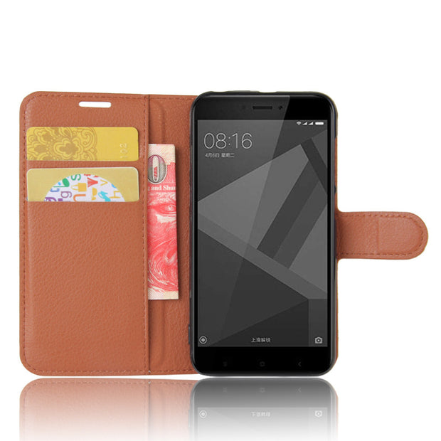 Xiaomi Redmi 4x Case Xiaomi Redmi 4x Leather Cover Flip Luxury Black Ultra Cozy Stand Funda Xiaomi Redmi 4x Case Wallet Bag 5.0""