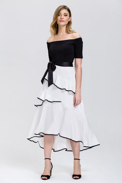 e5f8fd9f55958 Mina Al Sheikhly - Black and White off the shoulder Tiered Ruffle Skir –  ownthelooks-Development