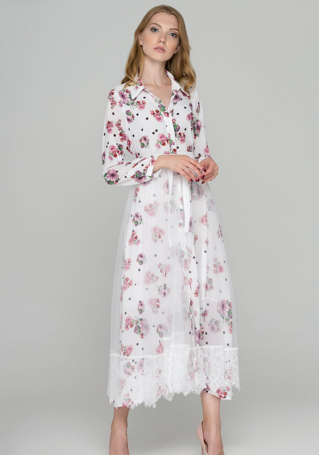 c7aeb0dd186f5c OwnTheLooks. White Floral Dots Tulle Layer Maxi Shirt Dress