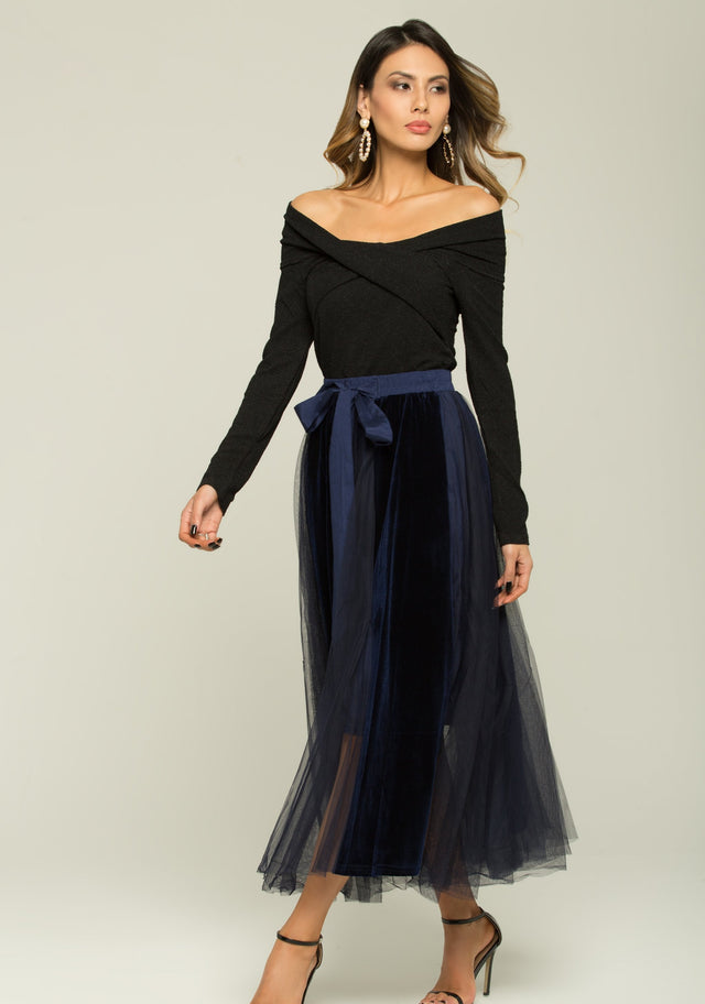 10223f73a4d70f Black And Blue Boat Neck Top And Sheer Skirt With Belt Set - ownthelooks- Development