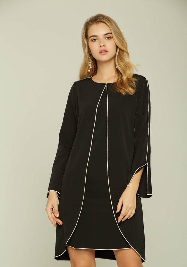 30701871f9cf3e Black and White Full Sleeves Belted Dress - ownthelooks-Development