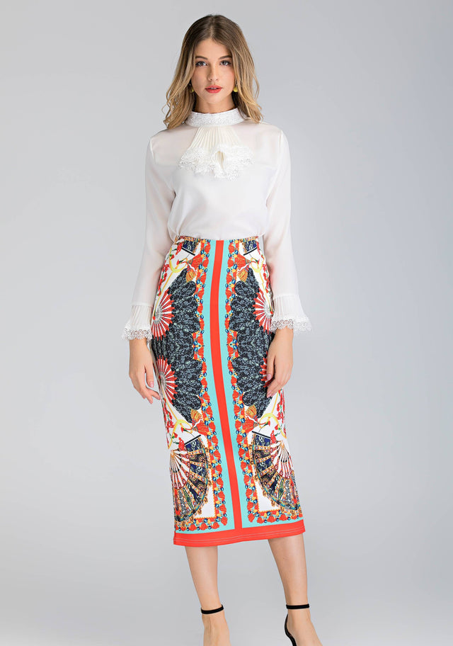 c62de7bfead8ef 2 piece white Pleated Gabot Top and Printed Pencil Skirt Set - ownthelooks- Development