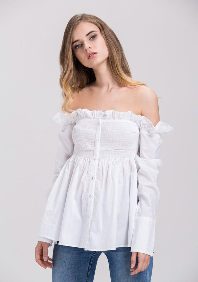 39684f23b97249 Dima Al Sheikhly - White Elastic Long Sleeves Button Up Off the Shoulder Top