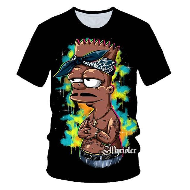 Cartoon print men's tee t-shirt
