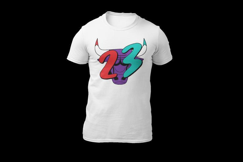 Air Jordan 5 Top 3 23 Bull Teal Purple Red Drip Matching Tee Bama Bred Bear Adult Unisex T Shirt