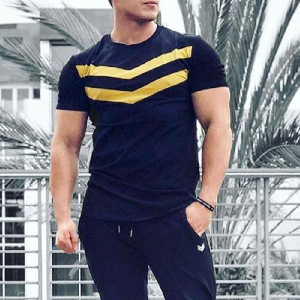 Fitness training t-shirt men's casual cotton short sleeve