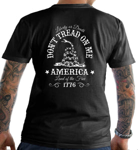 Don't Tread on Me. Liberty or Death. Land of the Free. Men's T-Shirt.