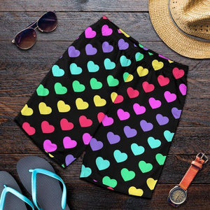 HEART RAINBOW PATTERN PRINT DESIGN HE02 MENS SHORTS