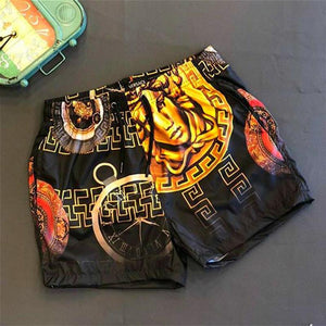 Geometry print gold high-elastic men's home shorts beach shorts