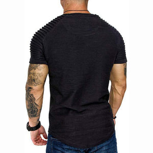 Shoulder pleated solid round neck short sleeve T-shirt