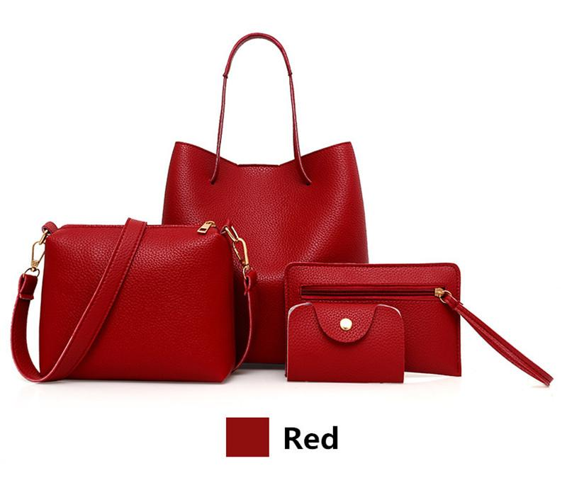 4 Pcs / 1 Set 2019 New Women Leather Handbag !