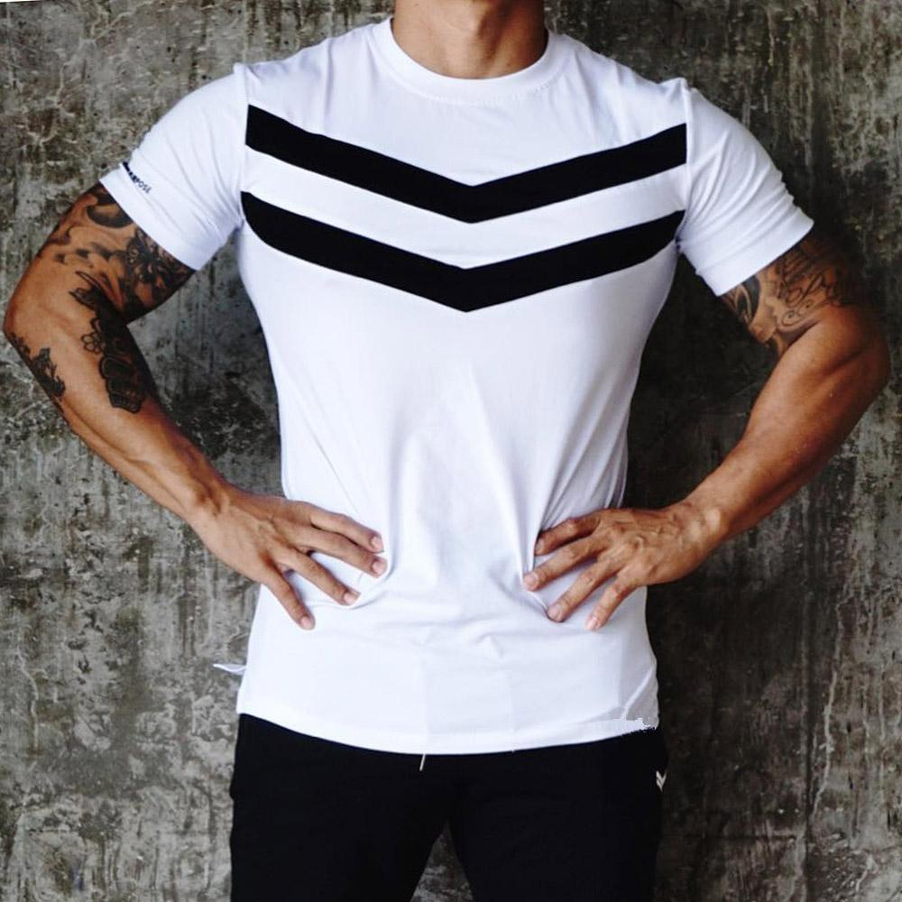 Sports t-shirt men's pure cotton fitness suit short sleeve slim fit sportswear