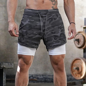 Men's running shorts outdoor loose Multi Pocket double layer