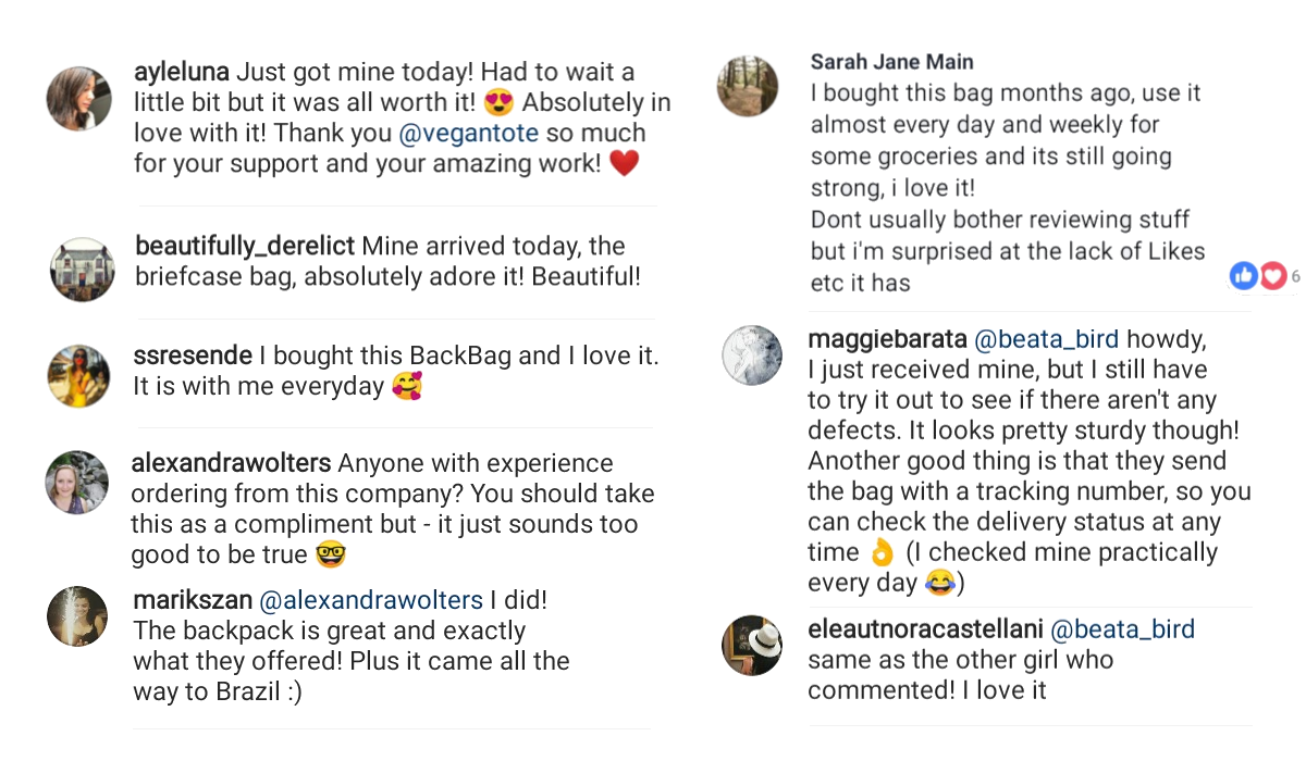 Vegan Tote Customer Feedback