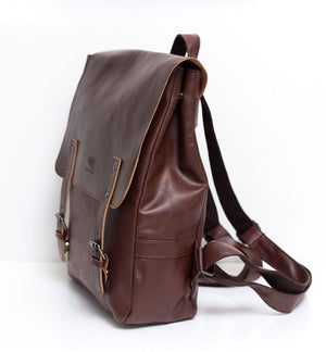 THREE BOX Vegan Leather Dual Strap Backpack