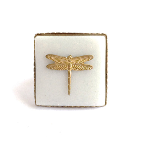 WHITE CERAMIC DRAGONFLY