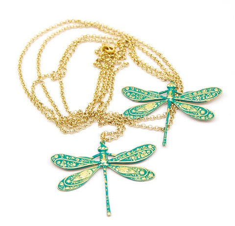 DOUBLE TURQUOISE DRAGONFLIES