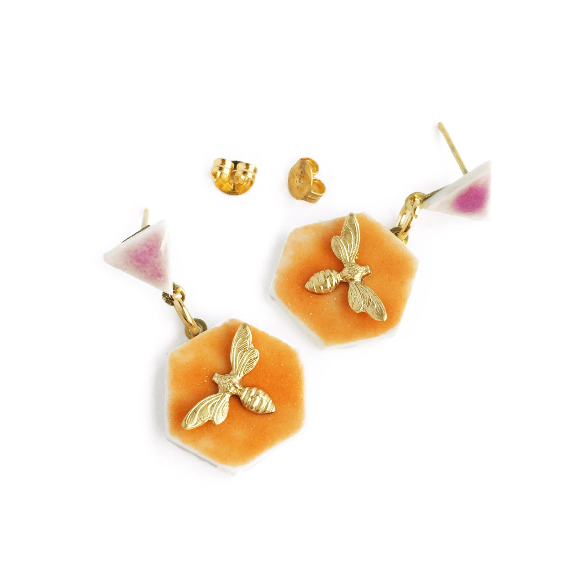 ABEJA EN CERÁMICA MINI ORANGE EARRINGS