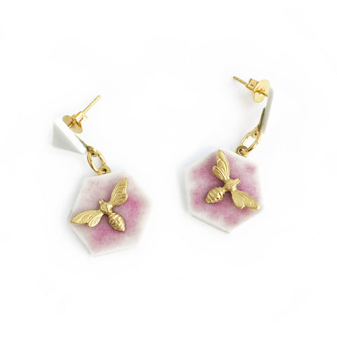 ABEJA EN CERÁMICA MINI LILAC EARRINGS