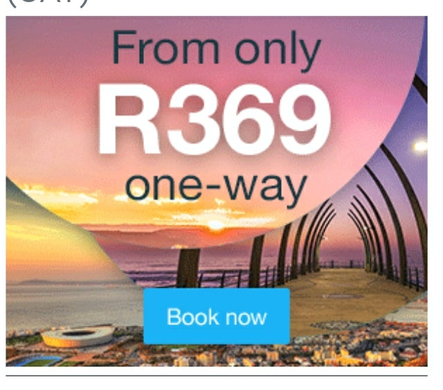DEAL - EXCLUSIVE FLYSAFAIR SALE FROM R369 ONE-WAY