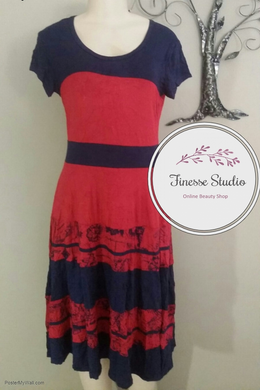 Red and Navy Blue Ladies dress