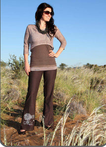 Brown ladies pants with Windmill detail
