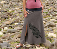 Load image into Gallery viewer, Black skirt with grey feather detail