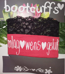 Bootcuffs Peach with black lace and Afrikaans words