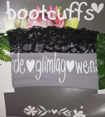 Bootcuffs Light grey with black lace and Afrikaans words