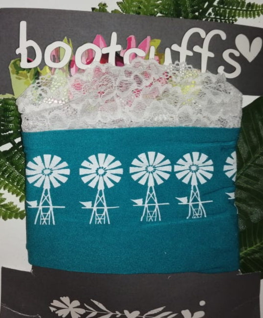 Bootcuffs Teal with white lace and windmill detail