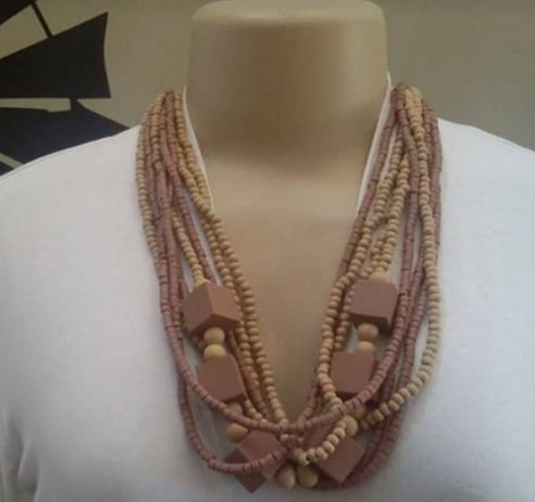 Cream multi string beads necklace