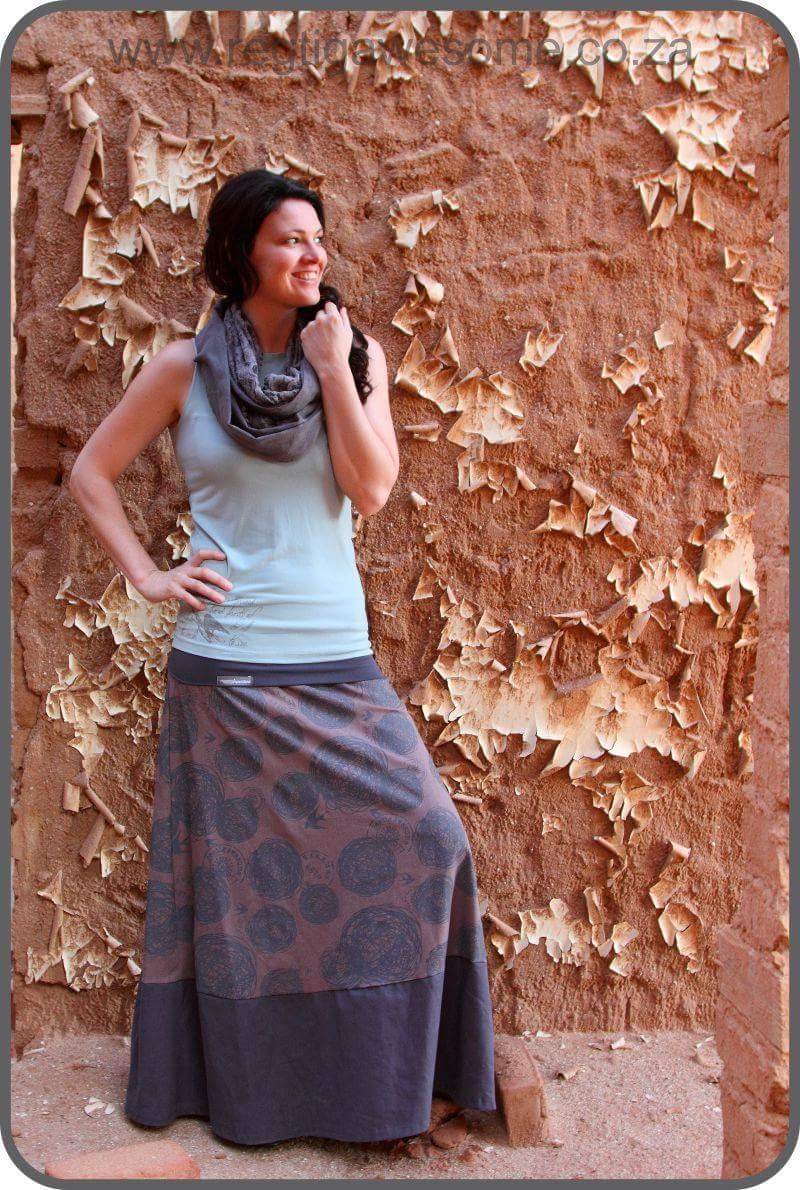 Dark Grey Maxi skirt with Fold over waist