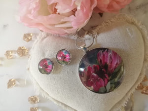 Necklace and Earring set Protea pink
