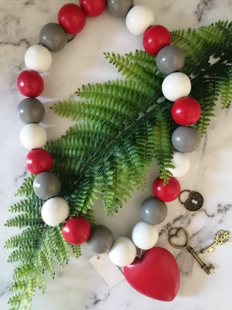 Red white and grey heart necklace
