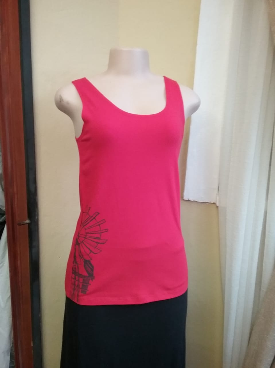 Tank top Red with Windmill print