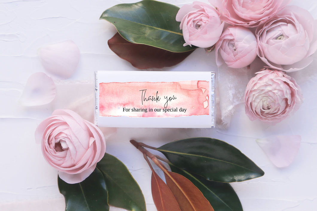 Pink Watercolour Chocolate wrapper