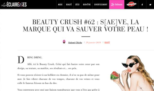 "Saeve, the new ""beauty crush"" from Les ÉCLAIREUSES"