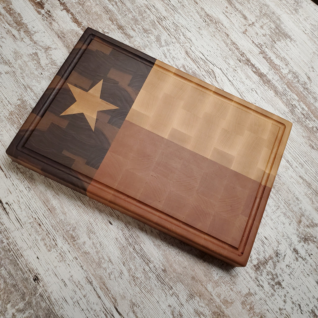 Texas flag chopping block