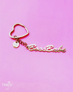 Cute Keychain Rose Gold Silver Boss babe Stainless Steel  Jewelry
