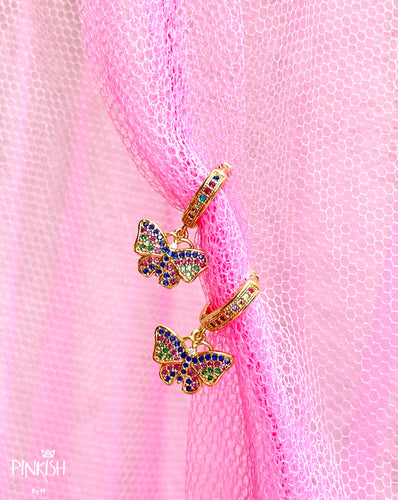 Colorful Dainty Butterfly Huggie Earrings Hypoallergenic Jewelry