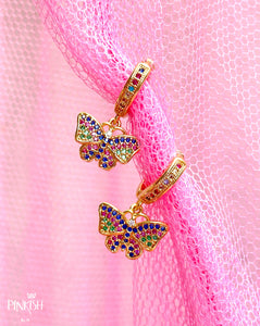 Colorful Rainbow Dainty Butterfly Huggie Earrings Hypoallergenic Jewelry