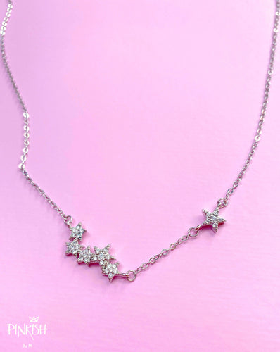 Celestial Sparkling Stars Necklace Sterling Silver