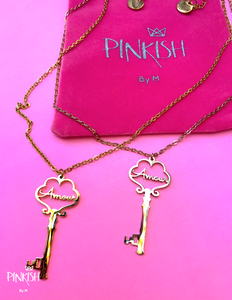 Stainless Steel French Love Amour Key Rose Gold