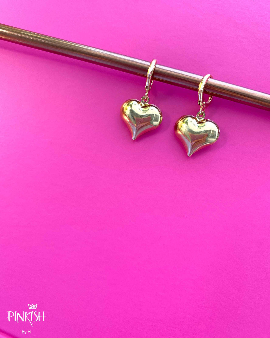 Love Heart Gold Filled Huggie Pendant Earrings