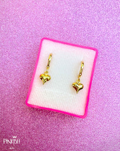 Love Heart Gold Filled Mini Baby Huggie Pendant Earrings Casual Romantic