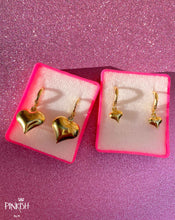 Load image into Gallery viewer, Full Fill Hearts Huggie Gold Filled Pendant Earrings Love