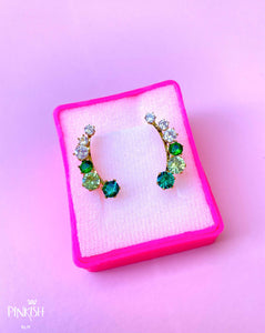 Green Ombre Ear Crawler Earrings