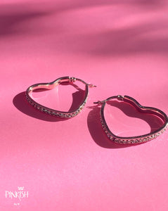 Stainless Steel Silver Heart Shaped Hoops with Zirconias Earrings