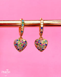 Love Heart Colourful Rainbow Shiny Huggie Earrings Hypoallergenic Tarnish Free