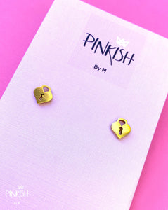 Hearts love locks gold studs Stainless Steel Dainty Jewelry